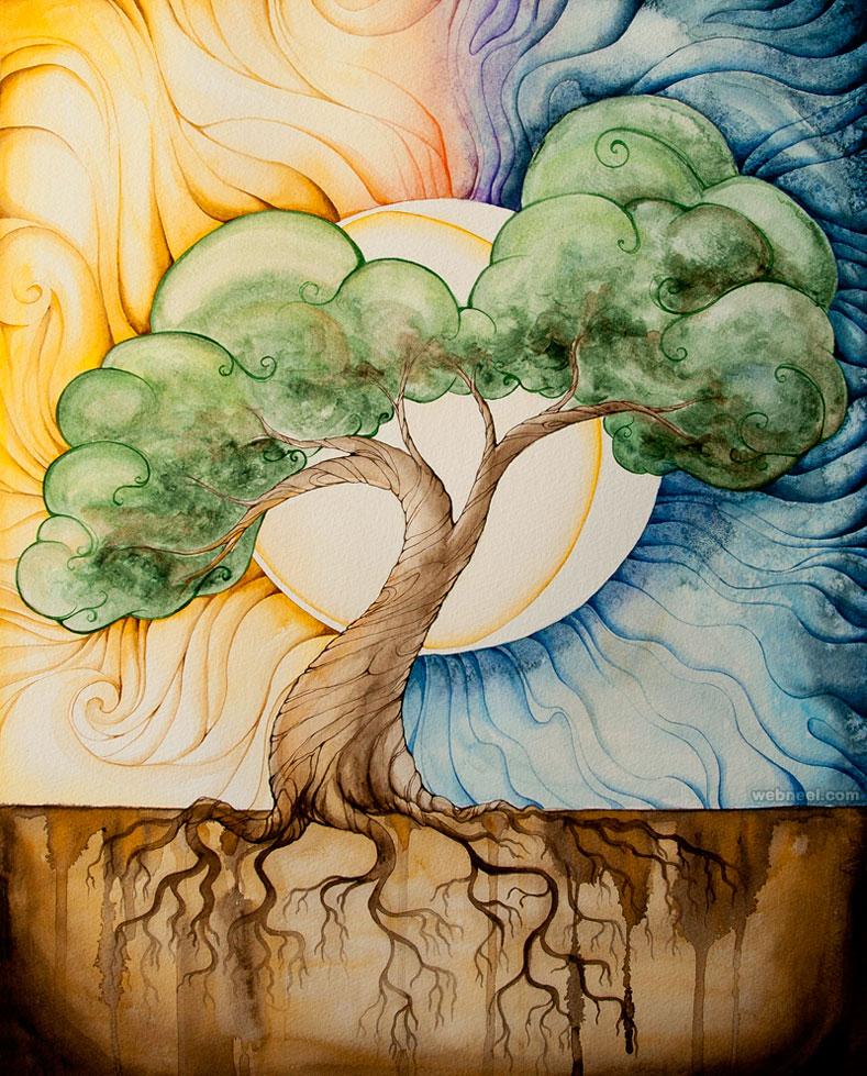 tree painting watercolour by starwoodarts