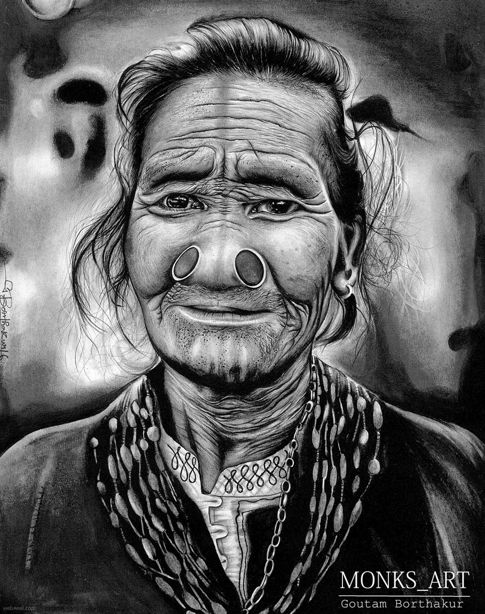 pencil drawing tribal by goutamborthakur