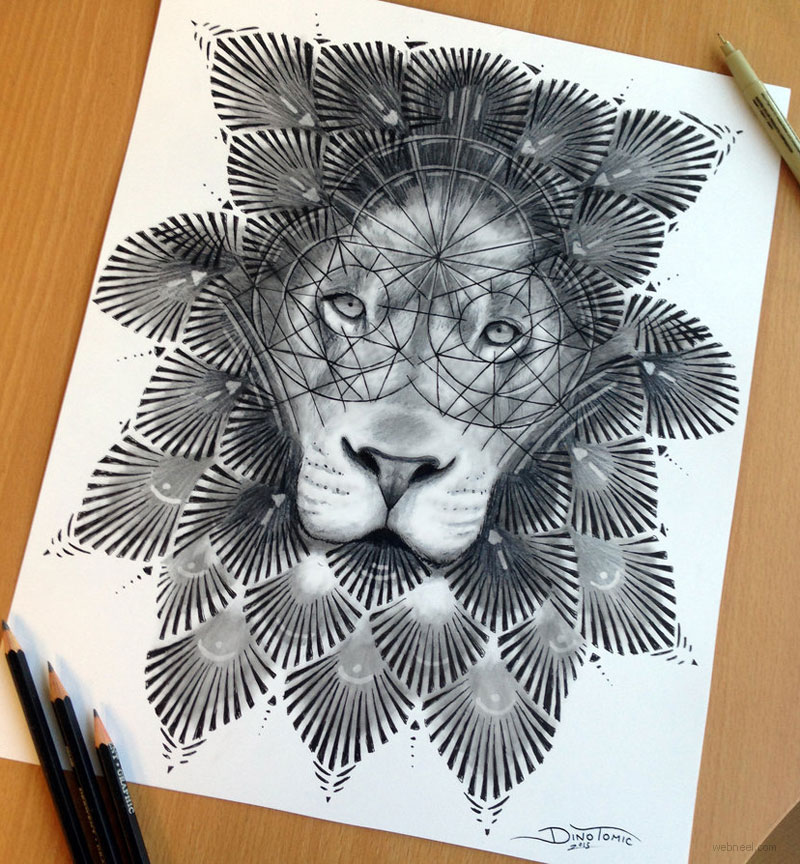 pencil drawing lion by atomiccircus