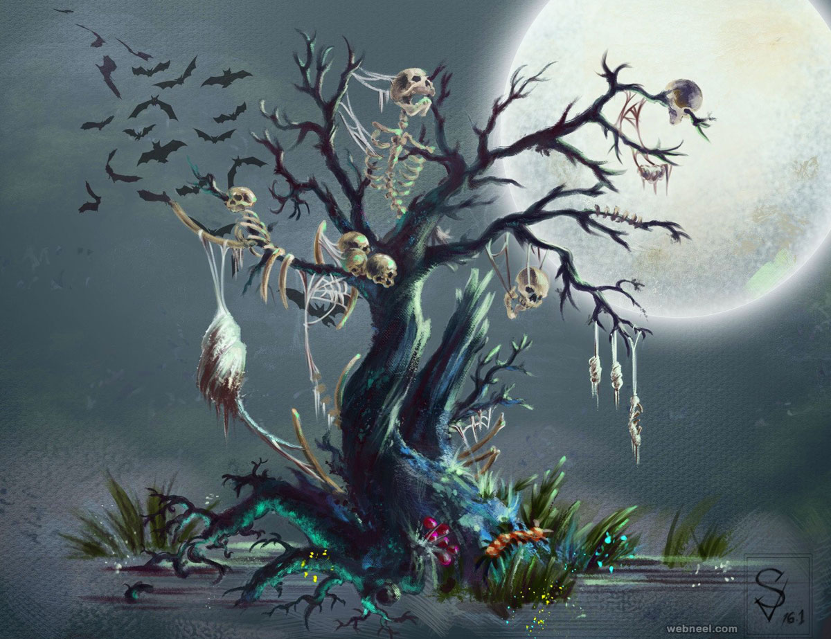tree painting horror halloween evil