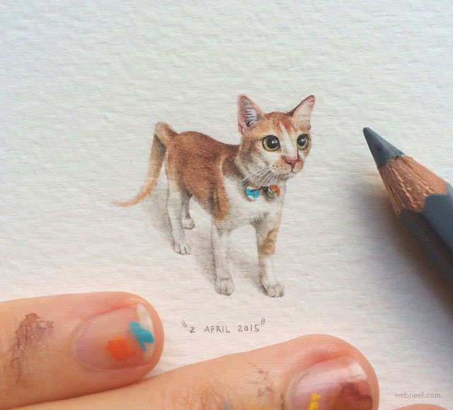 miniature painting artwork cat by lorraine loots