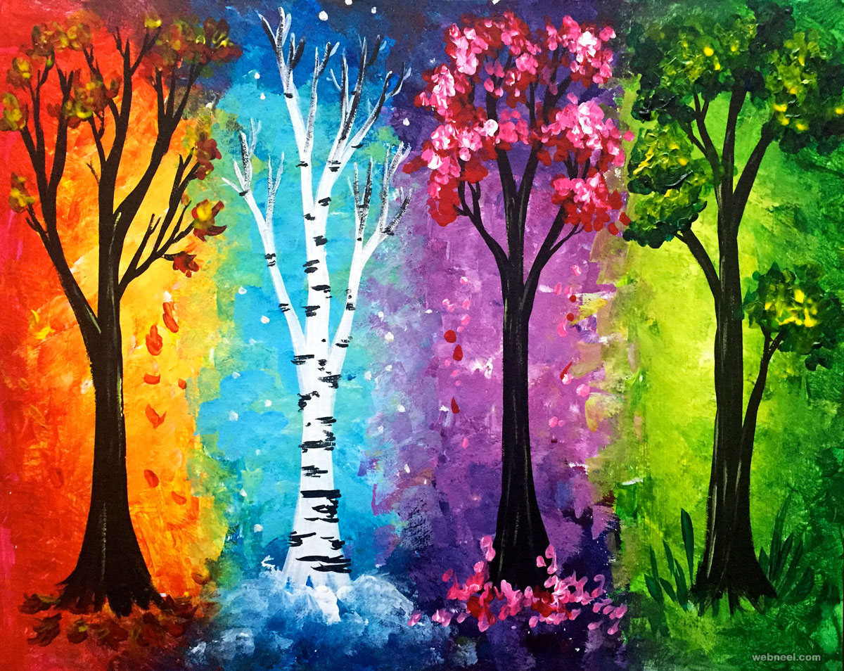 tree painting acrylic four season colourful