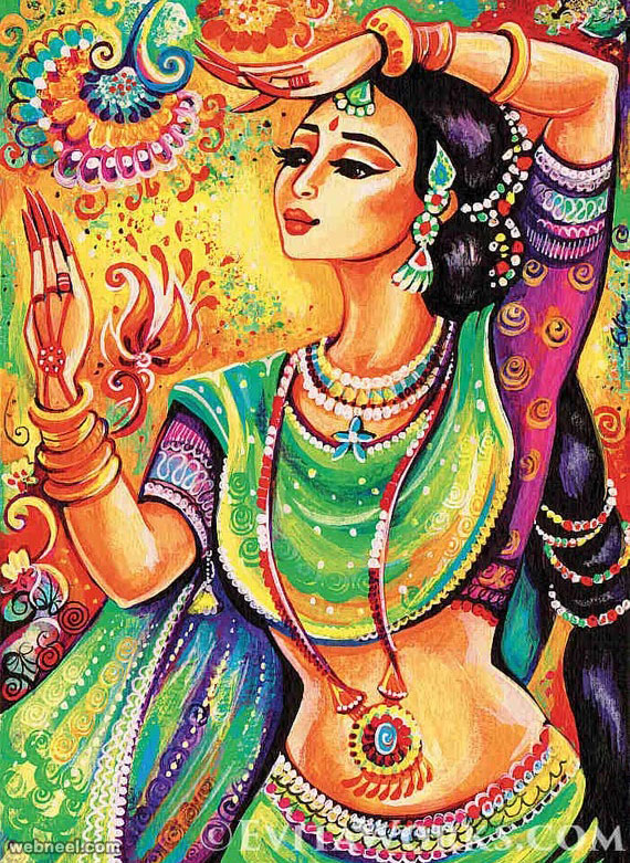 indian painting woman by evitaworks