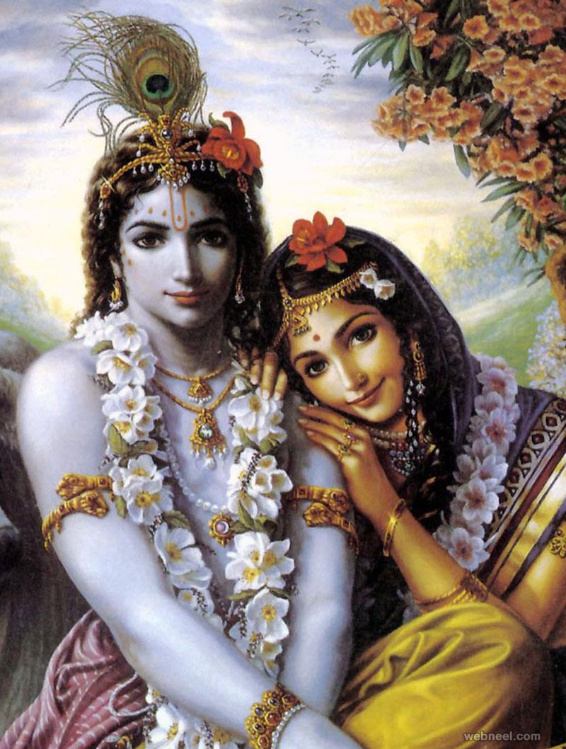 radha krishna indian painting
