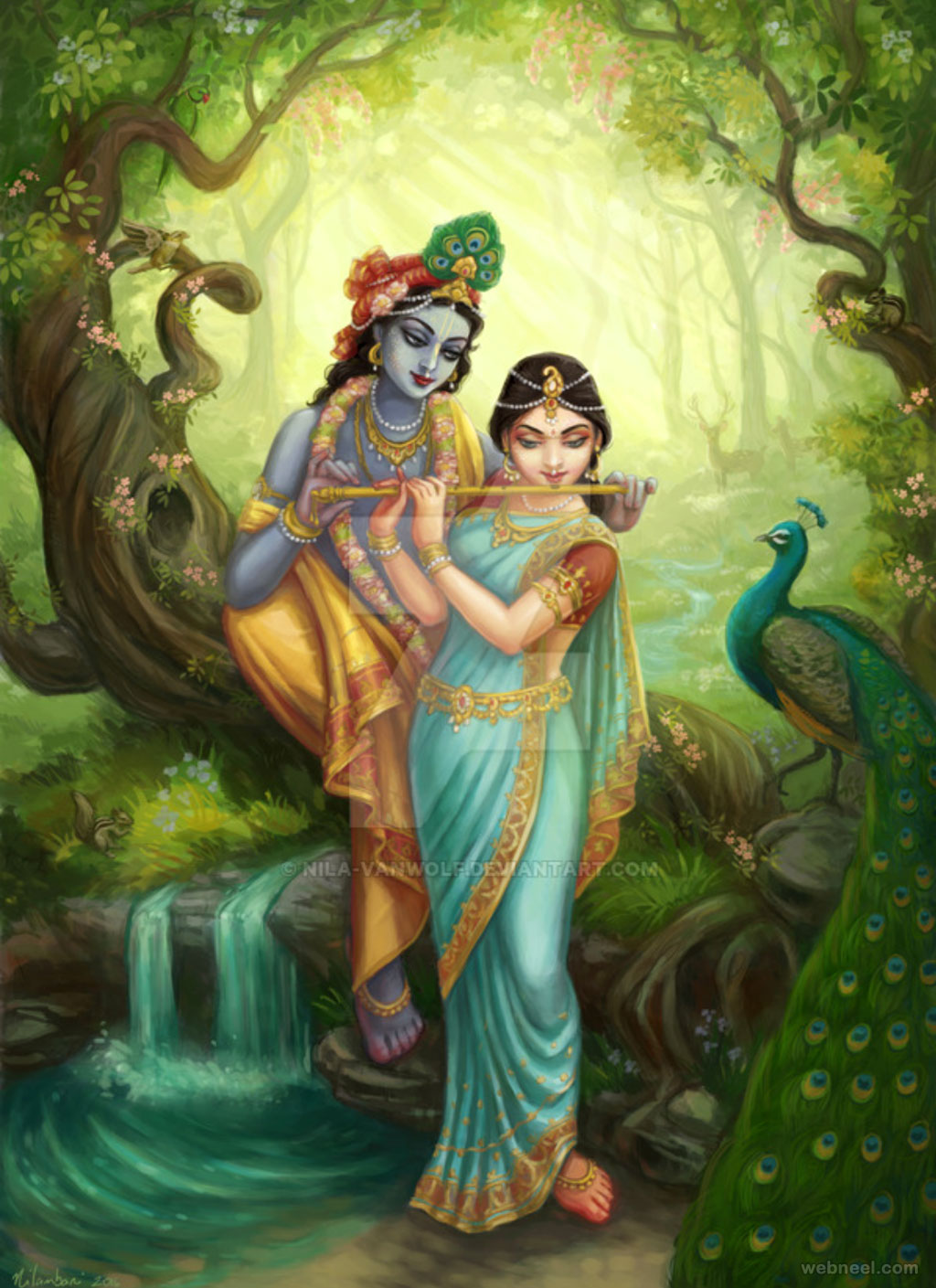 radha krishna indian painting by nilavanwolf