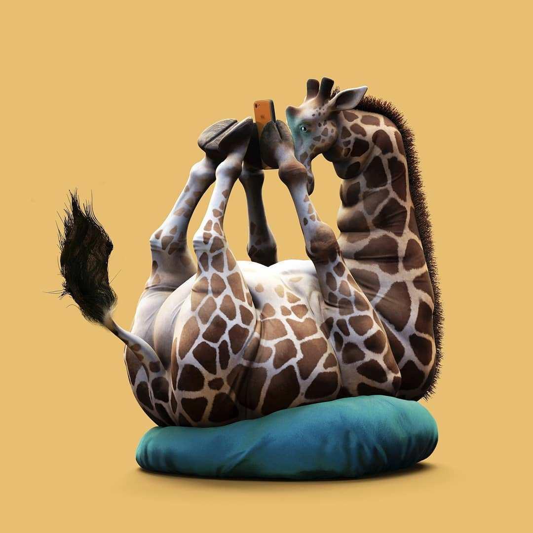 3d model giraffe by guodong zhao