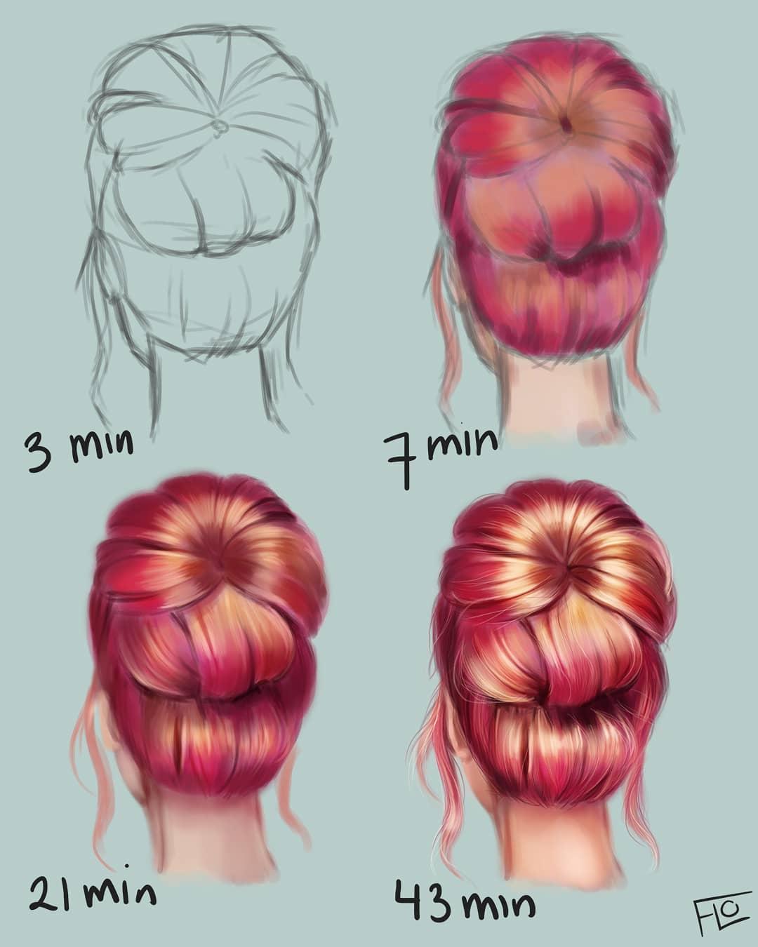 drawing bun step