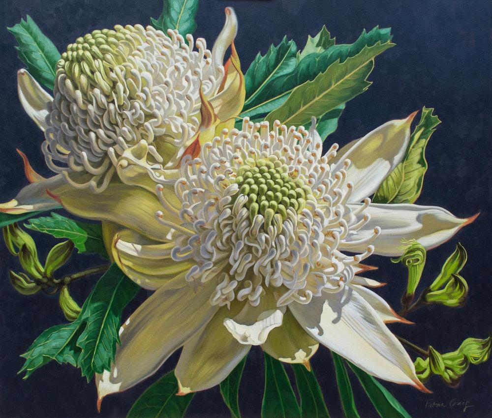 flower oil painting white waratashs