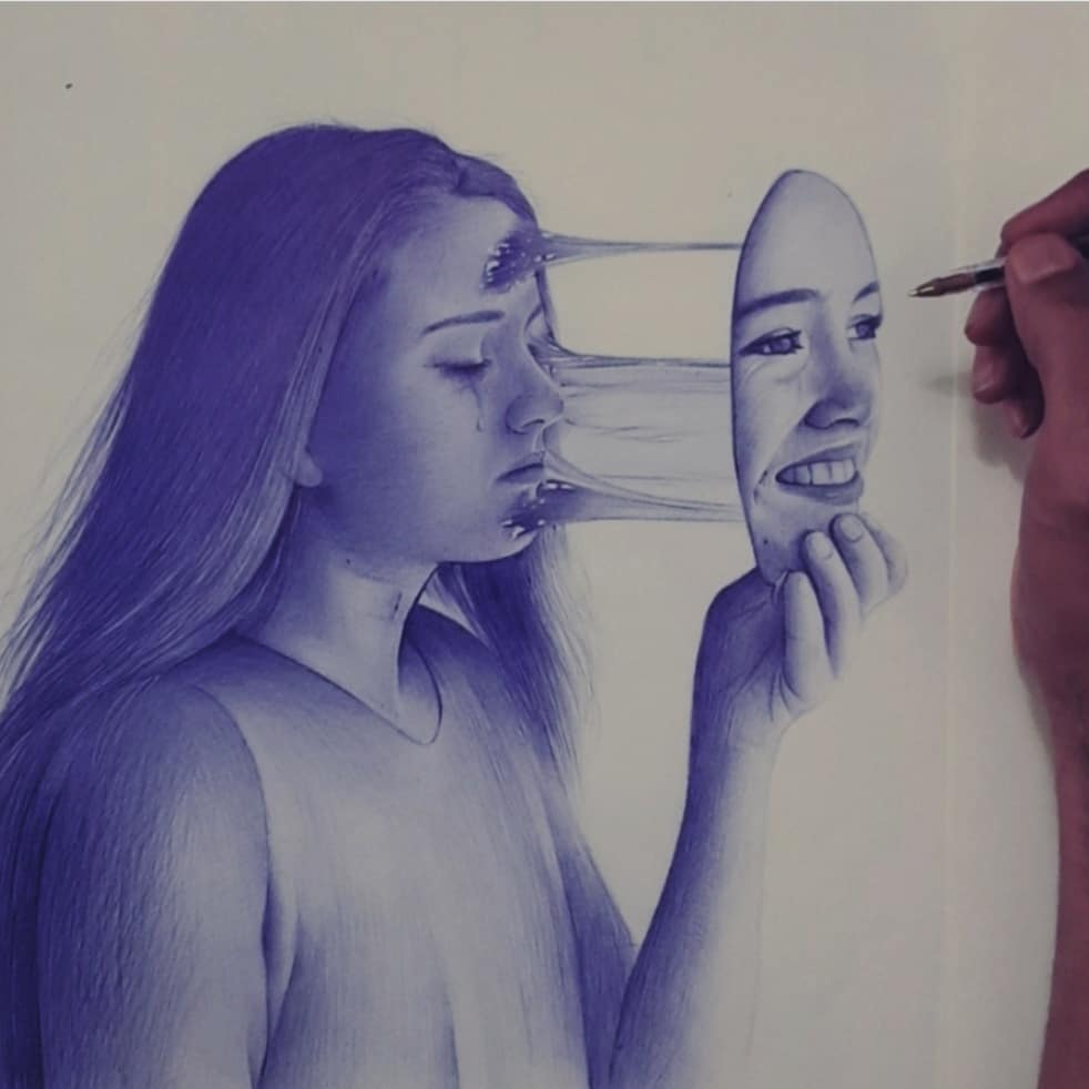pen drawing surreal face