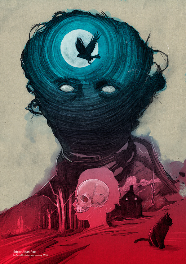 digital art illustration edgar allan poe by tavo montanez