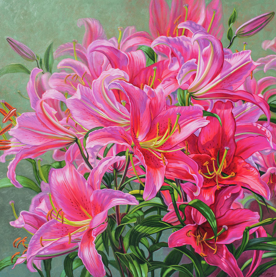 flower oil painting asiatic lilies