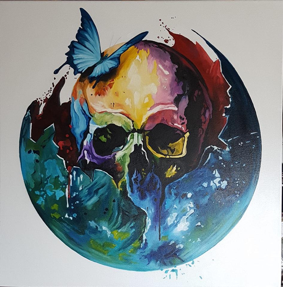 oil painting skull