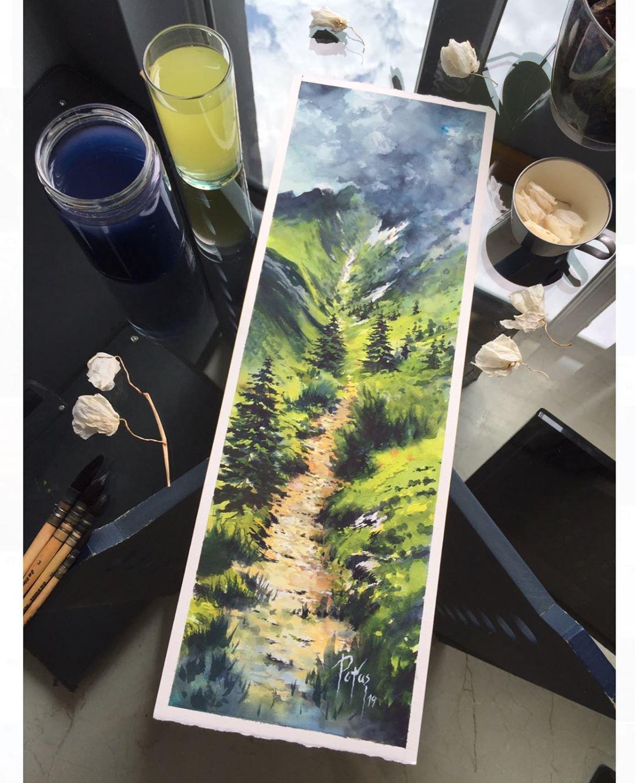 painting landscape scenary walk by adem potas