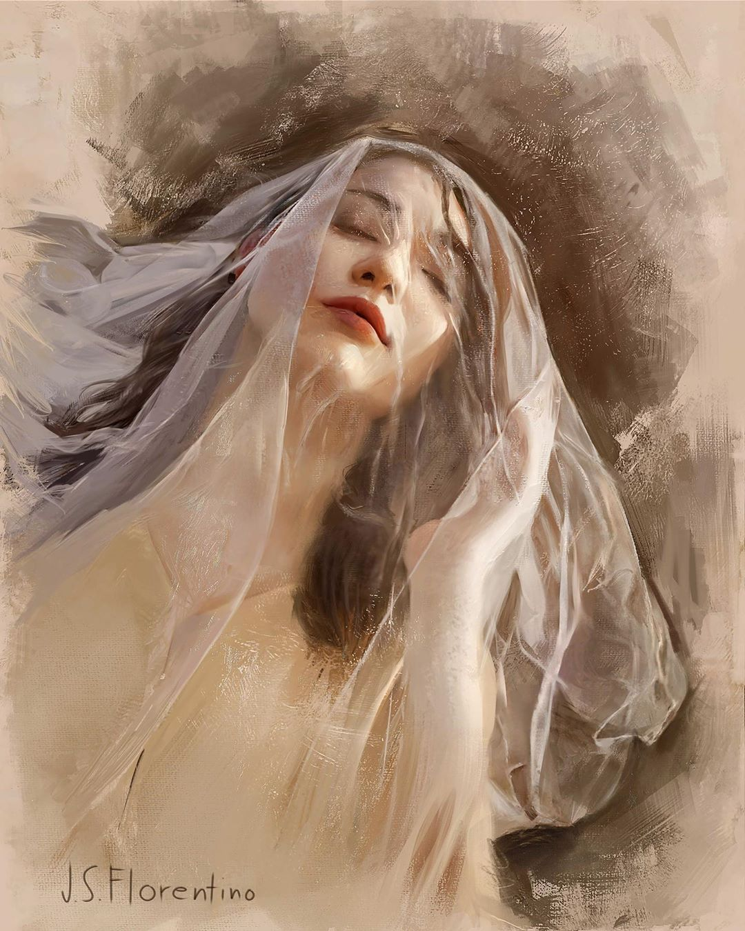 portrait paintings veil by justine florentino