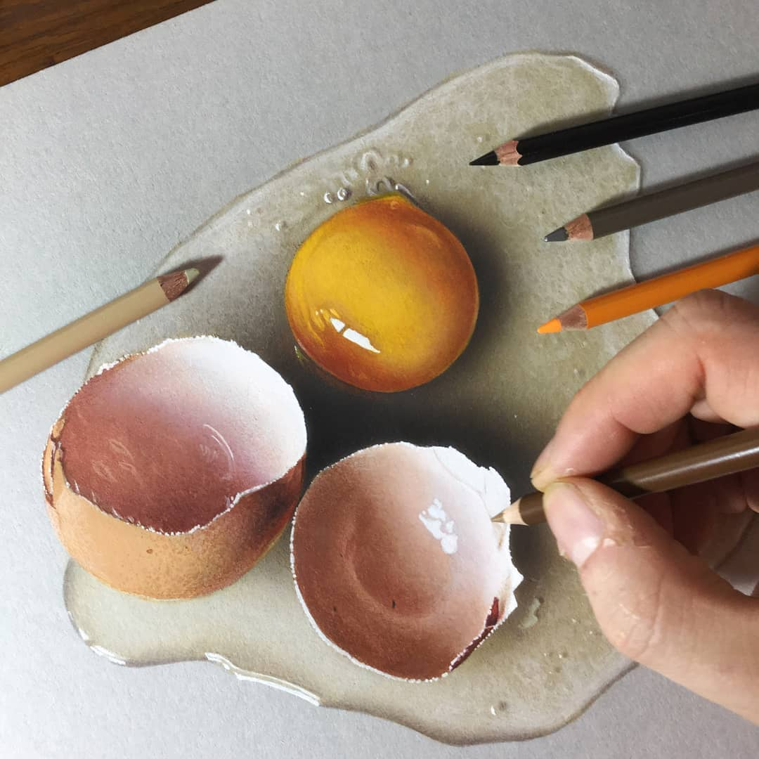 color pencil drawing egg by marcello barenghi