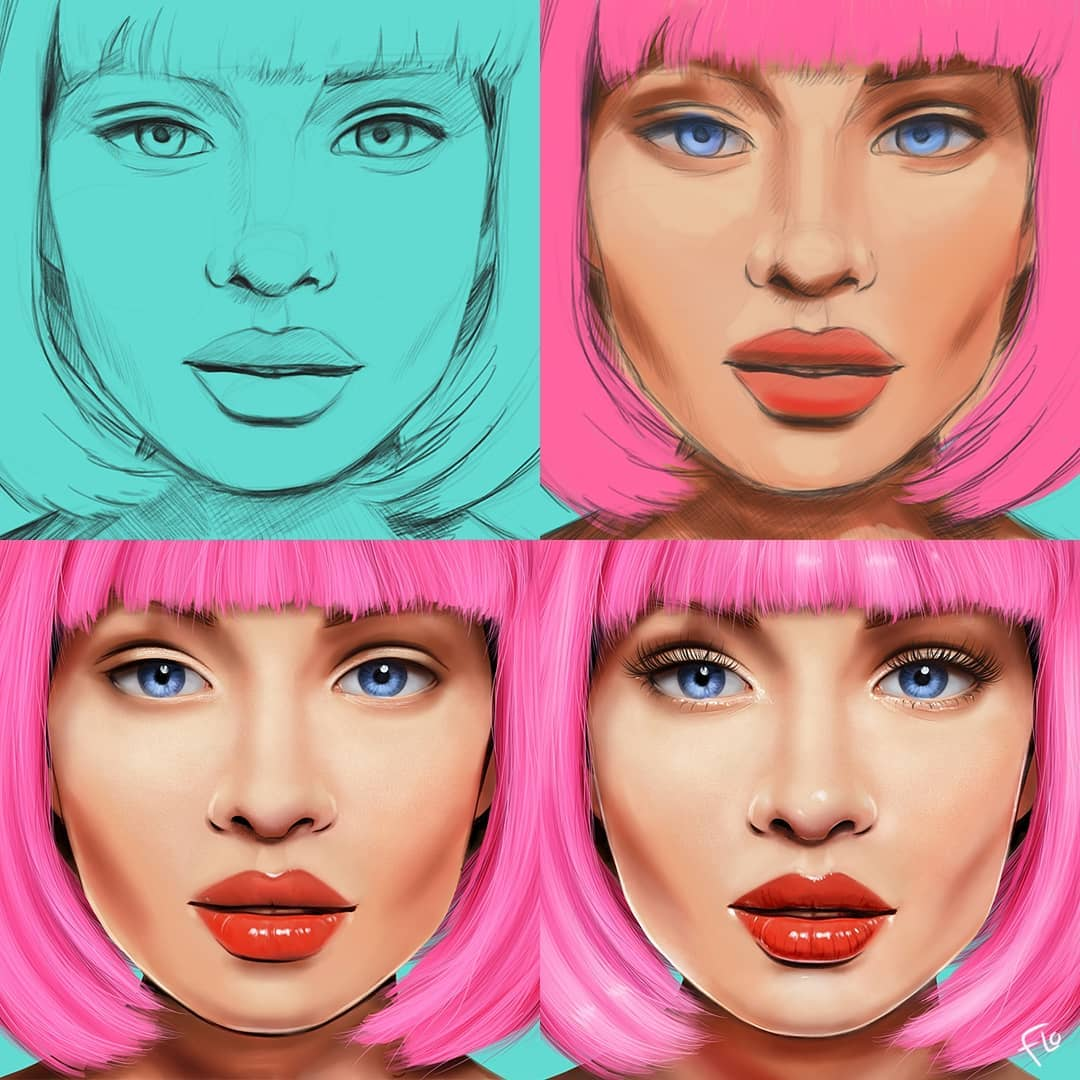 drawing procreate faces step by step tutorial by flo