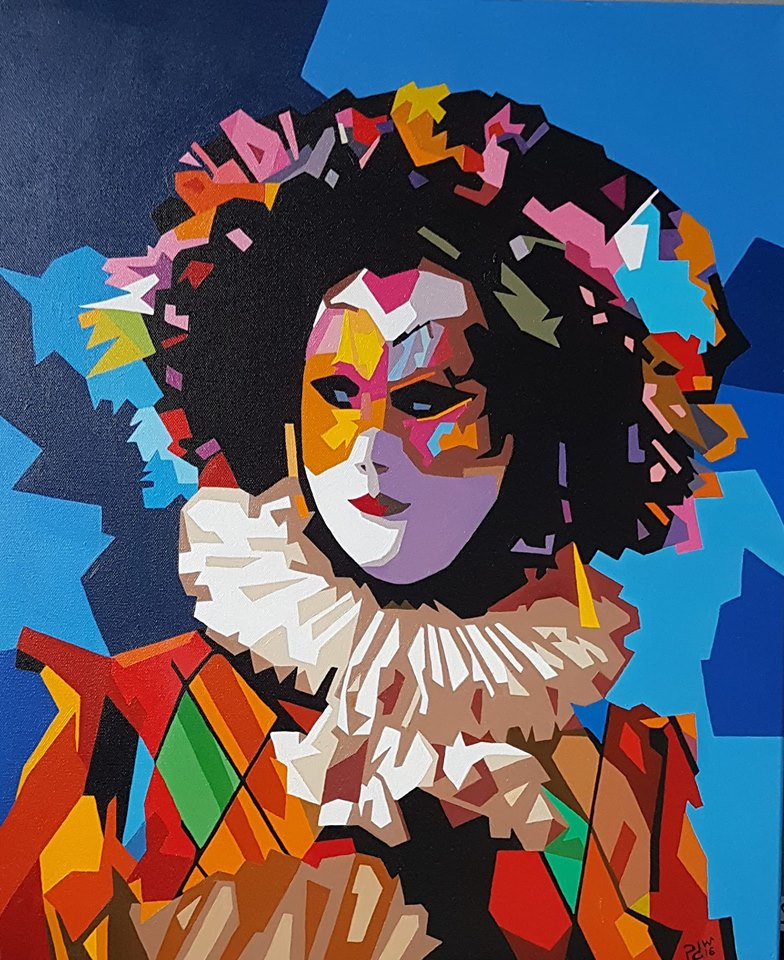 oil painting jester