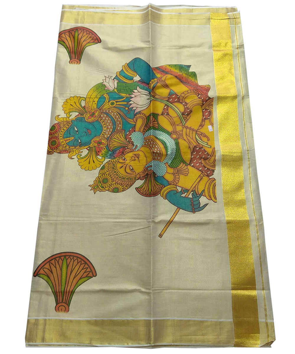 onam mural saree vishnu god