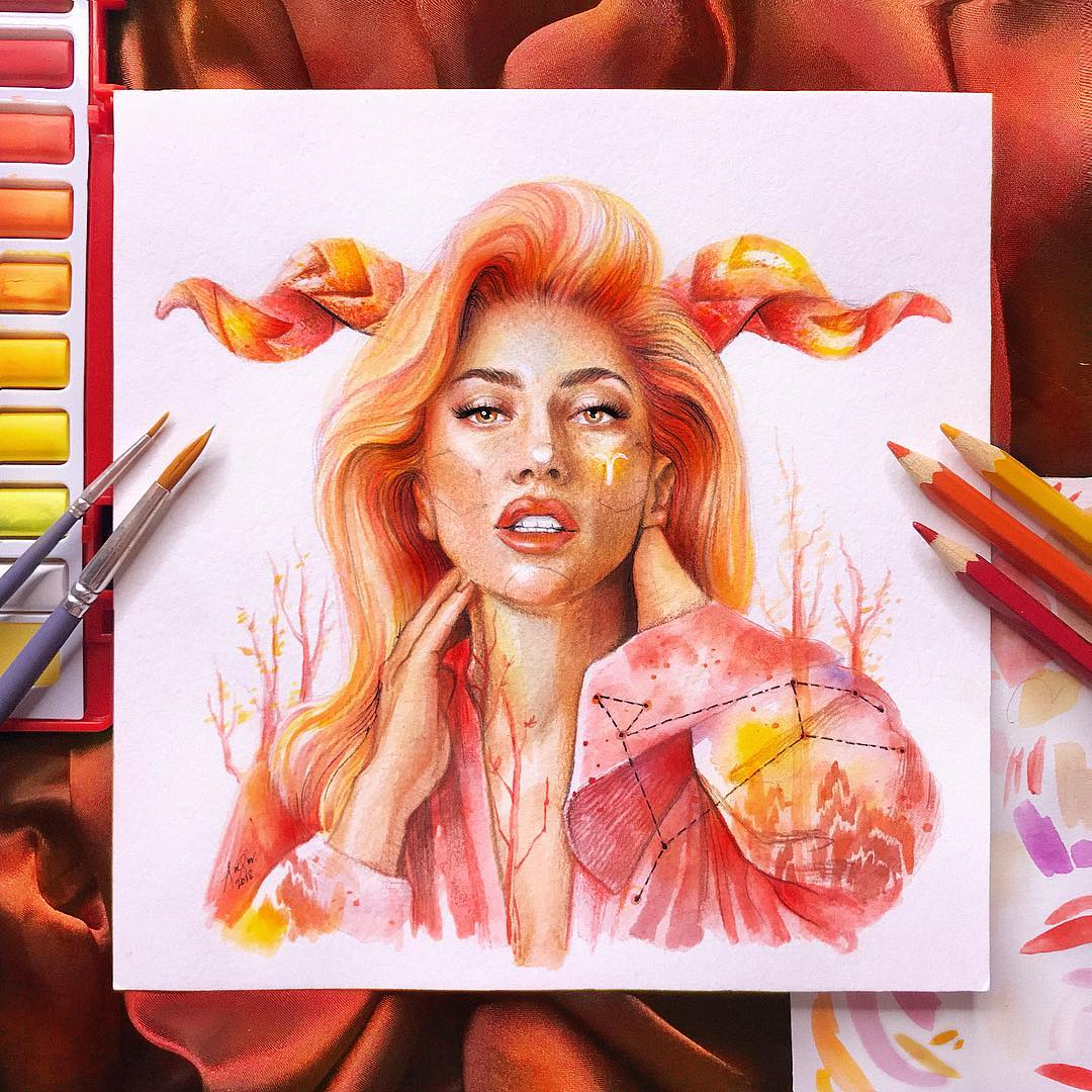 2 color pencil drawing lady gaga by andre manguba