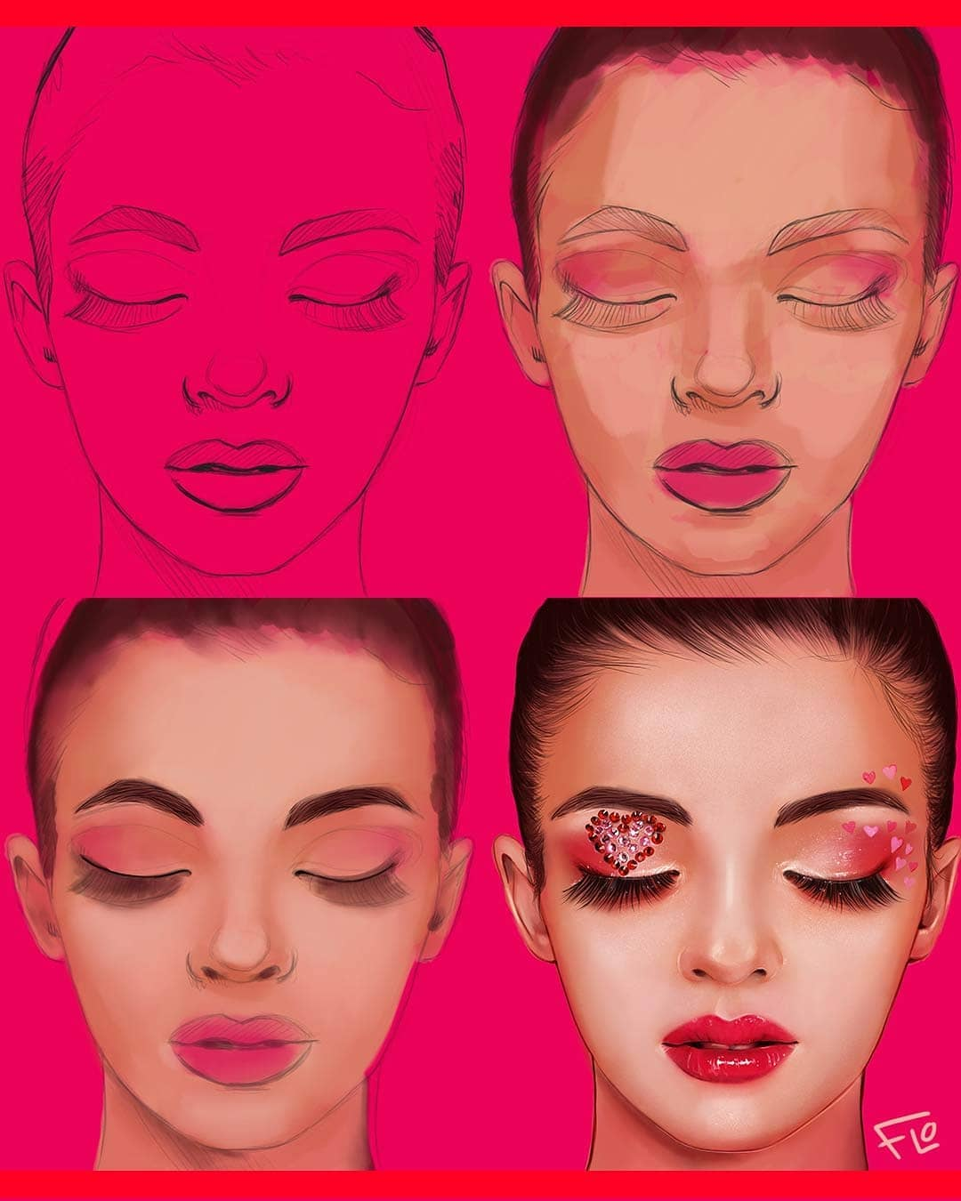drawing drawface step by step tutorial by flo