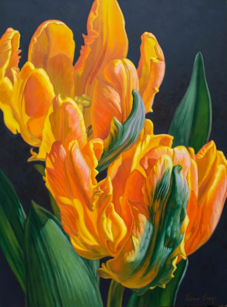 flower oil painting orange parrot tulips