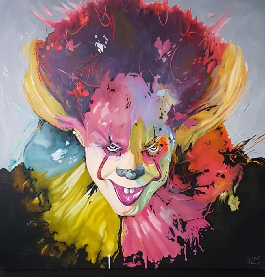 oil painting clown1 by patrickde waegeneire