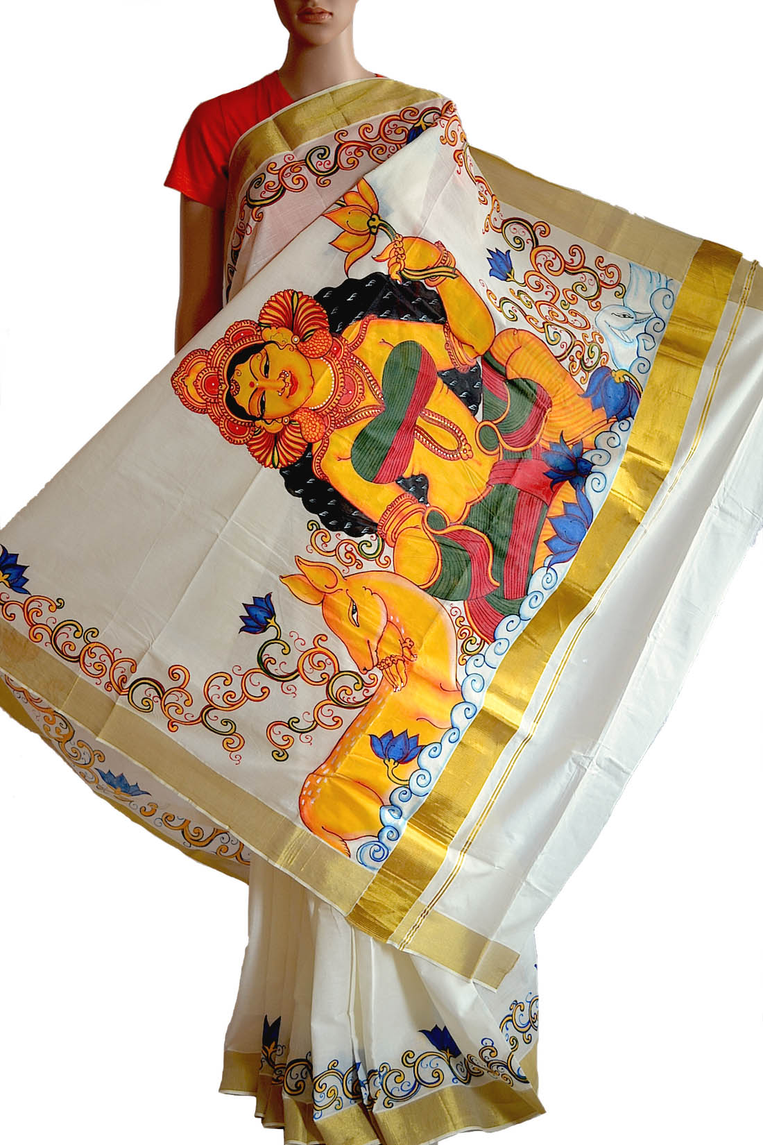 onam mural saree god