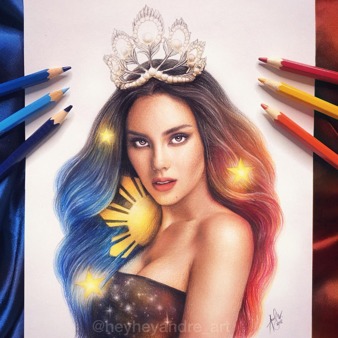 color pencil drawing catriona gray by andre manguba