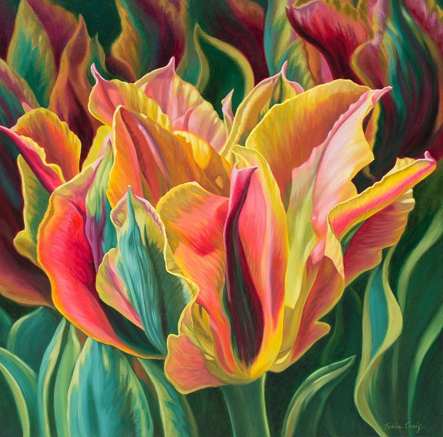 flower oil painting tulips