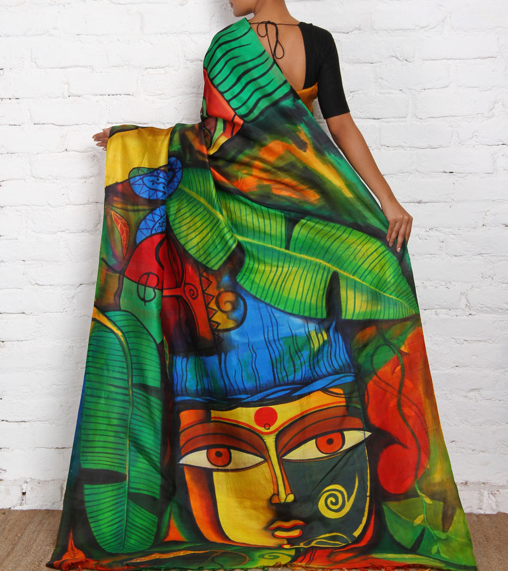 onam mural saree bananaleaf