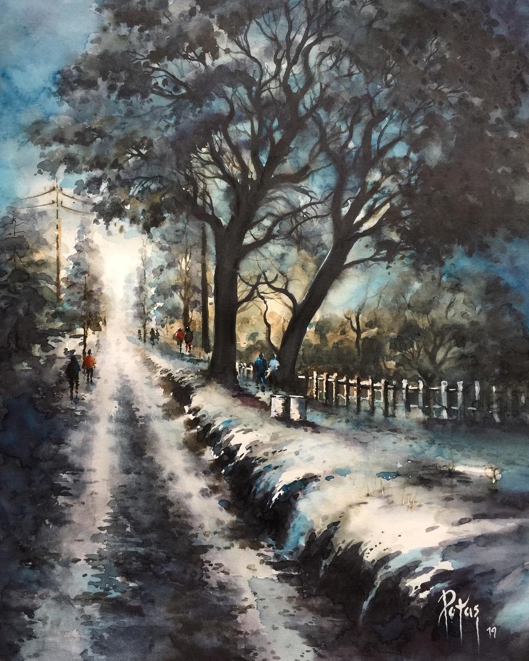 painting landscape scenary meltingsnow by adem potas
