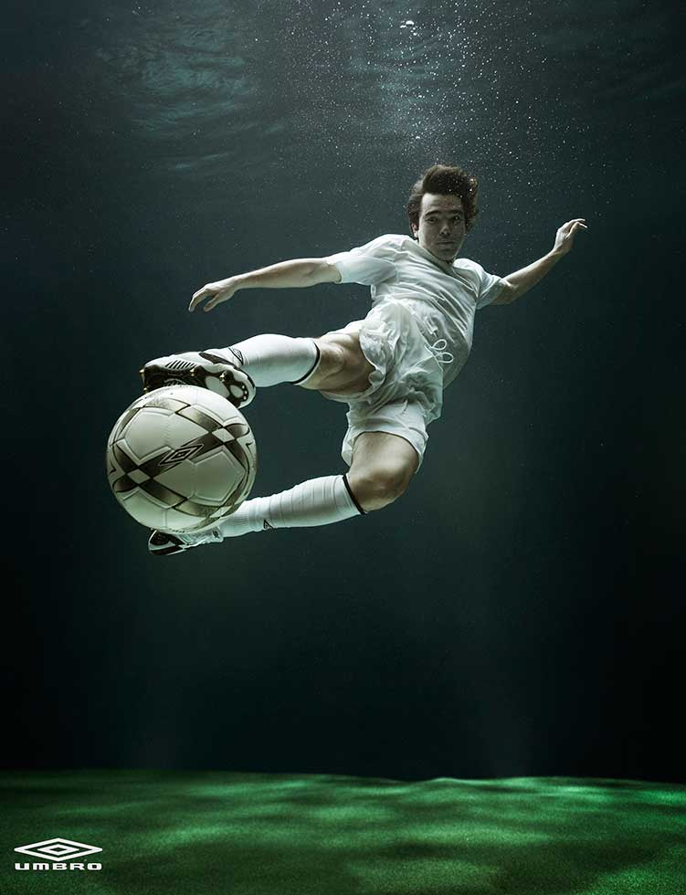 underwater photography advertising celebrity footballer by zeno holloway