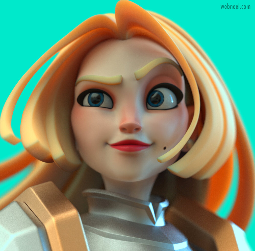 3d model girl cartoon by chen longfei