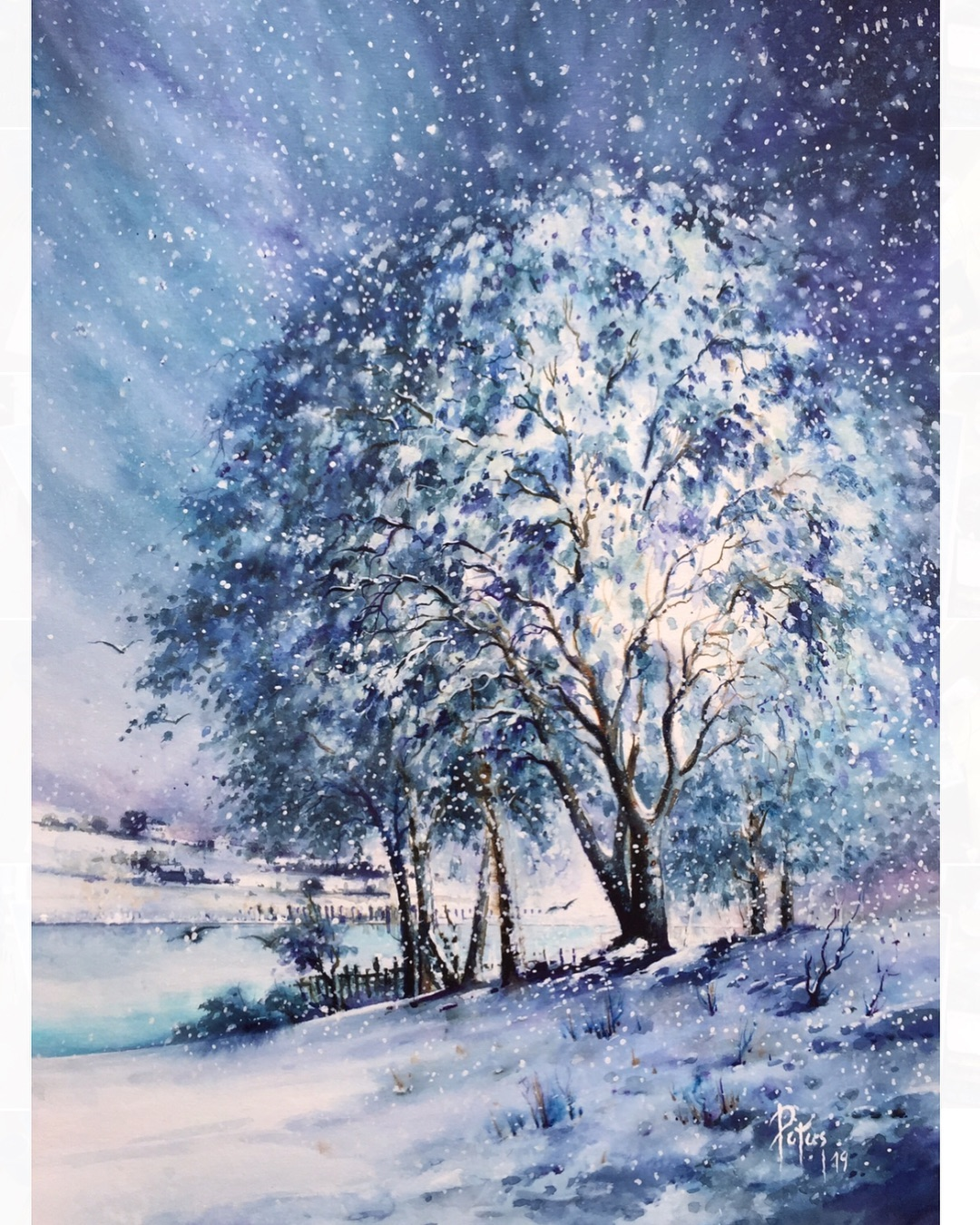 painting landscape scenary snowtree by adem potas
