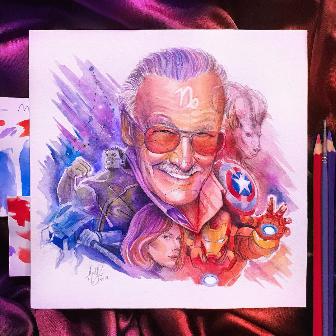 color pencil drawing stanlee
