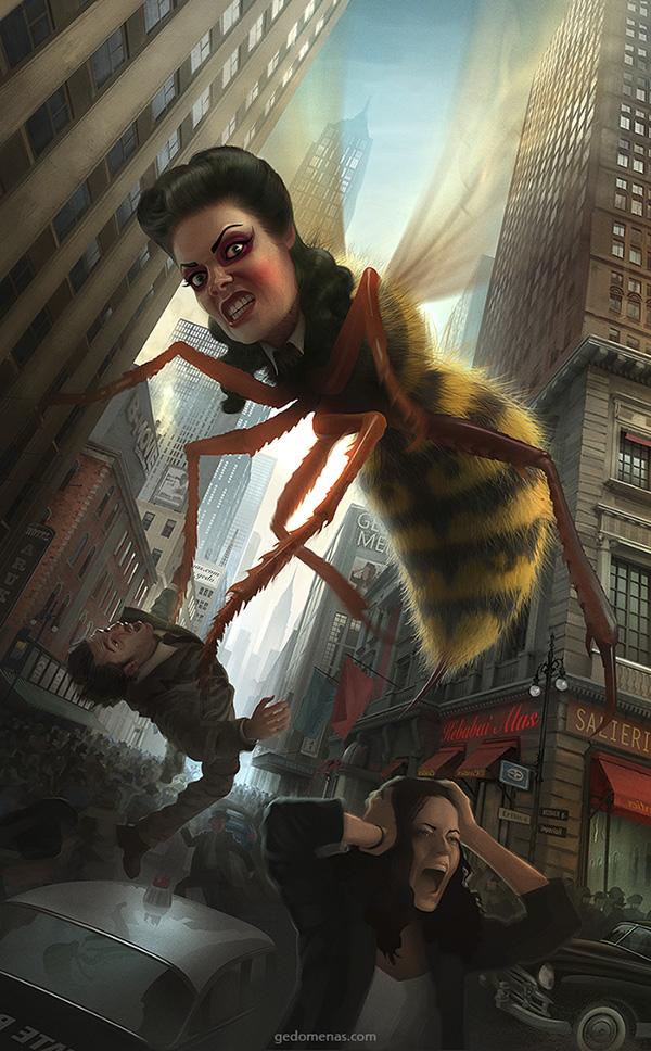 digital illustration art bee