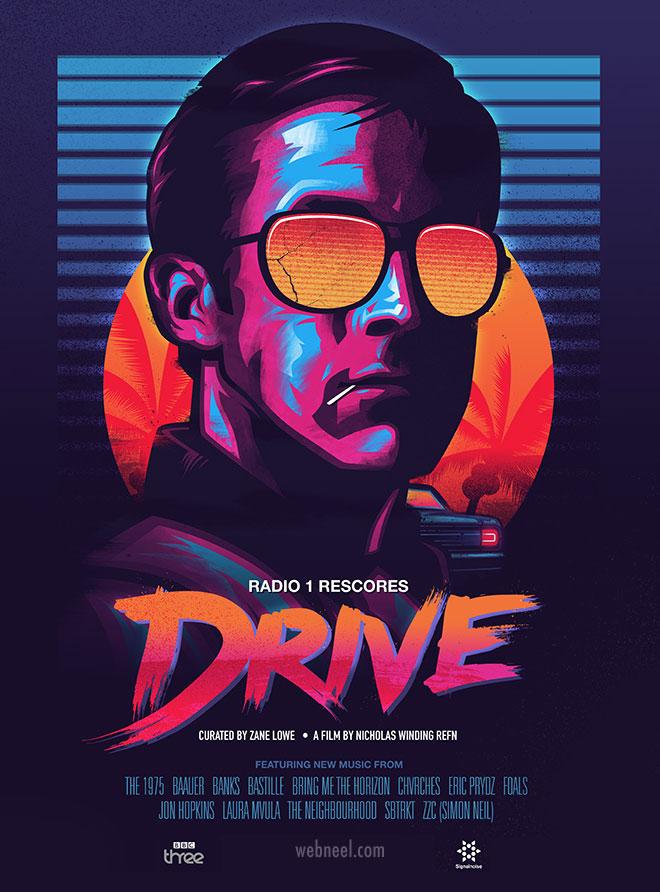 movie poster design drive neon pop