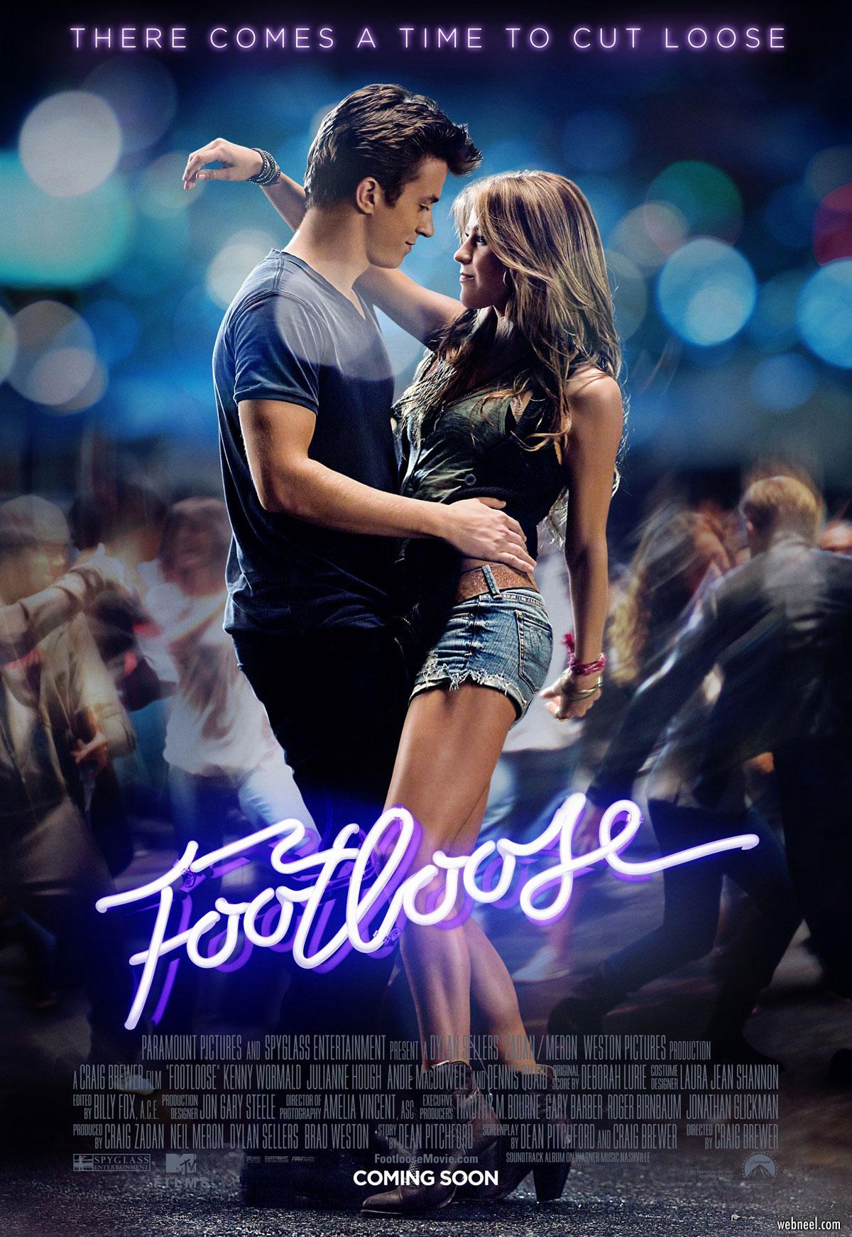 movie poster design footloose neon pop
