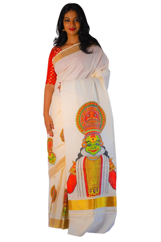 onam mural saree kathakali