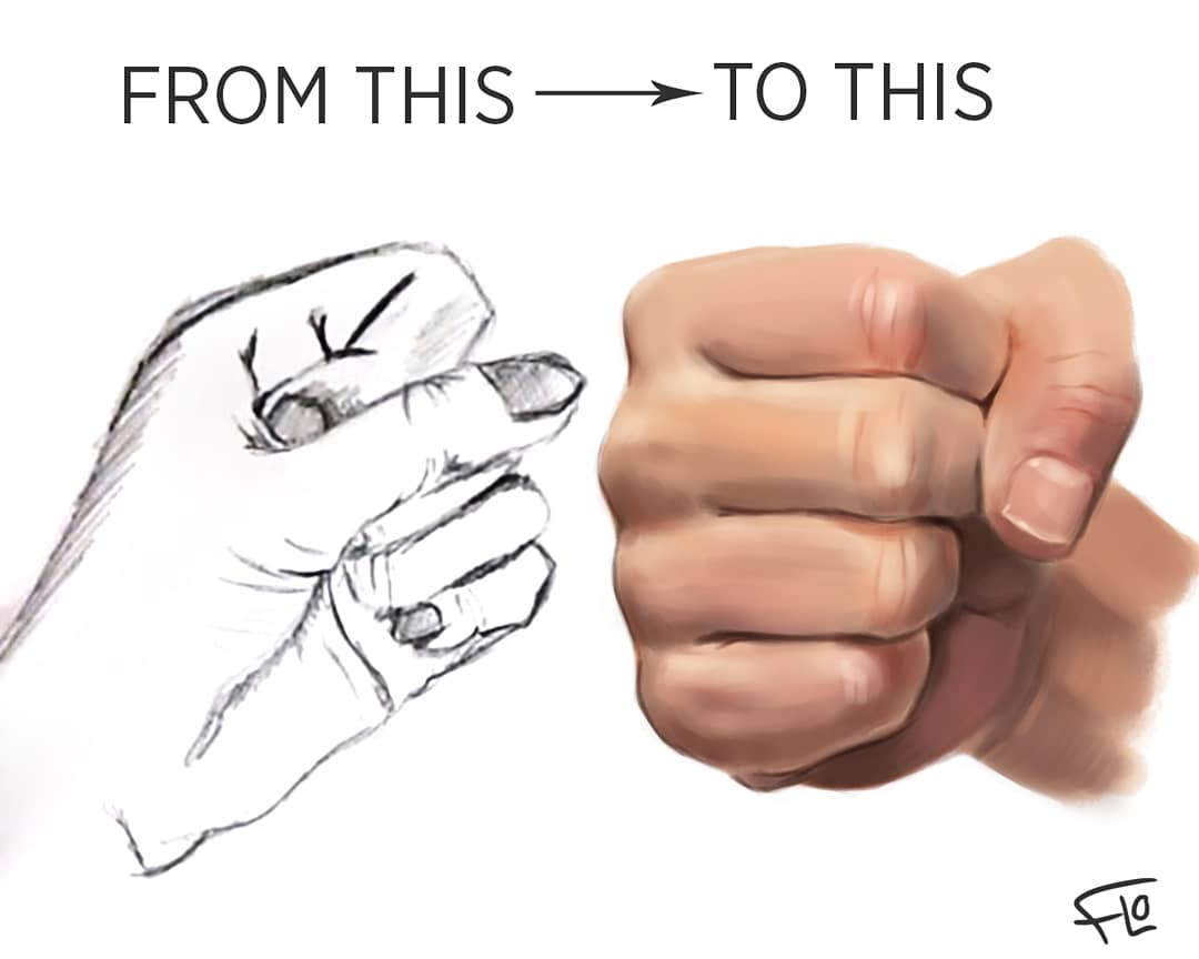 drawing fist step by step tutorial by flo