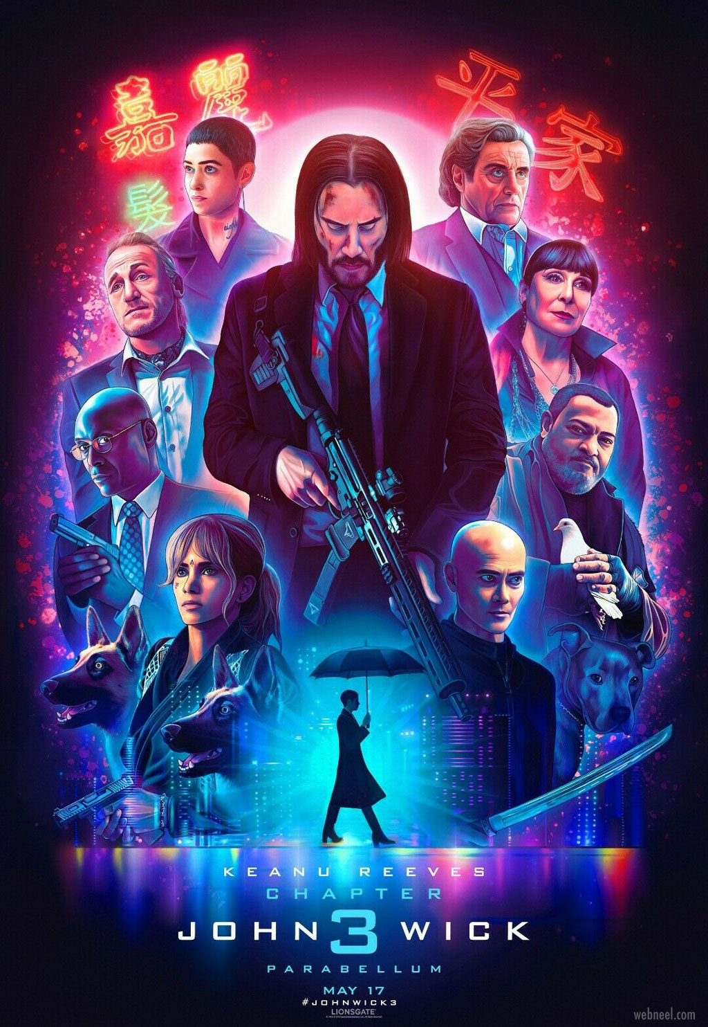 movie poster design john wick neon pop