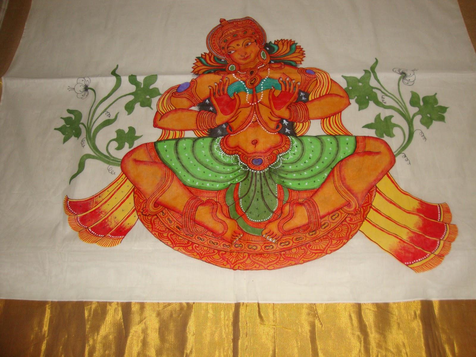 onam mural saree goddess