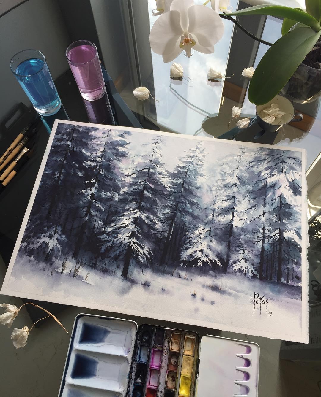 painting landscape scenary snowcaptrees by adem potas