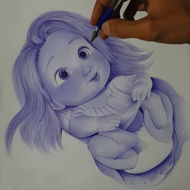 pen drawing baby by hisham albayyat