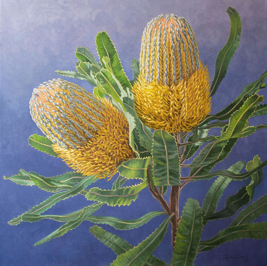 flower oil painting golden banksias