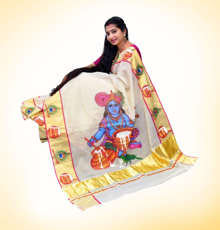 onam mural saree krishna