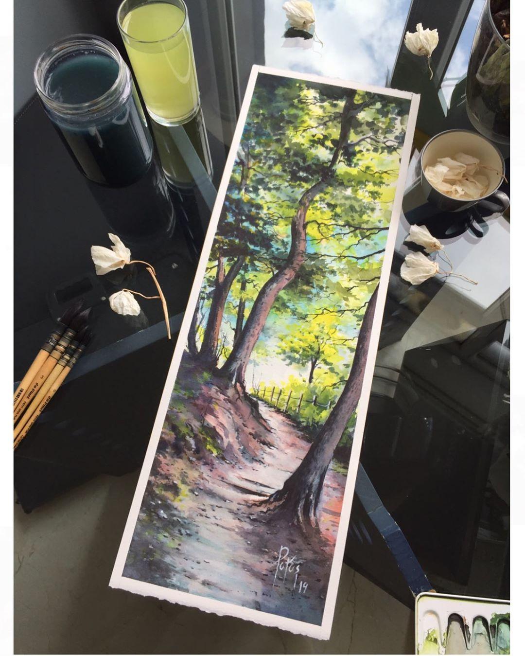 painting landscape scenary naturewalk by adem potas