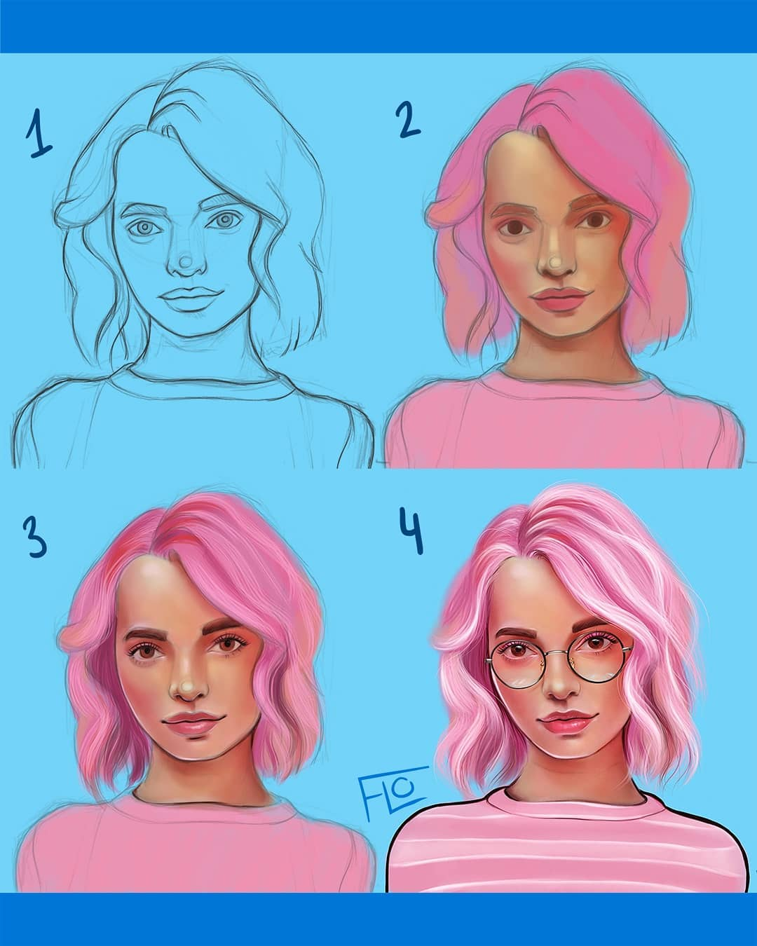 drawing pinkhair step by step tutorial by flo