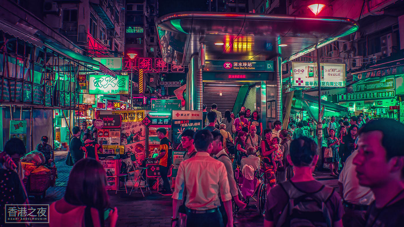 neon light photography hongkong by zaki abdelmounim