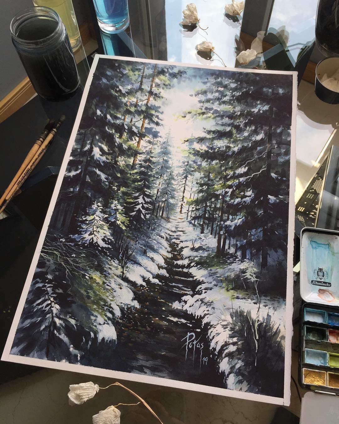 painting landscape scenary frostpath by adem potas